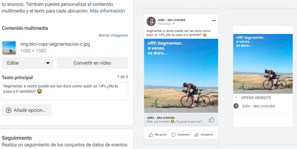 Cómo segmentar en facebook ads con la doble segmentacion - Anuncio